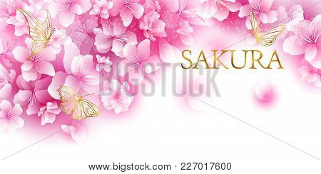 Gentle Background With Cherry Blossoms Or A Blooming Apple Tree. Festival Flowering Sakura. Golden I