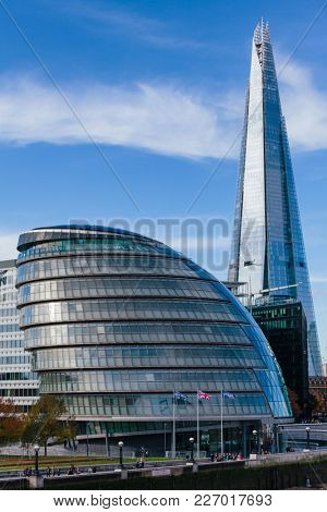 LONDON, UK - NOV 1, 2012: View from Tower Bridge to southern bank of the River Thames with City Hall and Shard skyscraper