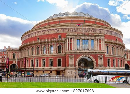 LONDON, UK - NOV 1, 2012: The Royal Albert Hall concert hall victorian exterior pictured from Kensington Gardens