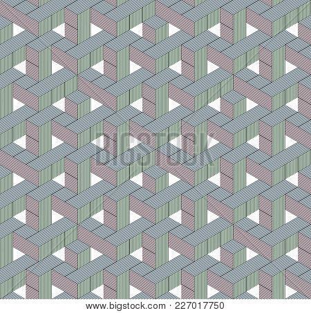 Abstract Seamless Surround Pattern Of Red. Green, Blue Cubes. Optical Effects.