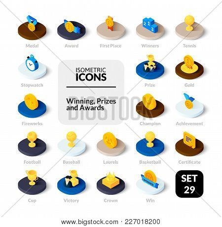 Color Icons Set In Flat Isometric Illustration Style, Vector Symbols - Winning, Prizes And Awards Co