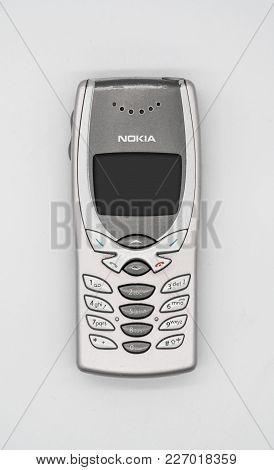 Used Nokia 8250 Mobile Phone. Bangkok, Thailand - Feb 10, 2018:  Nokia 8250 Was A Variant Of The Nok