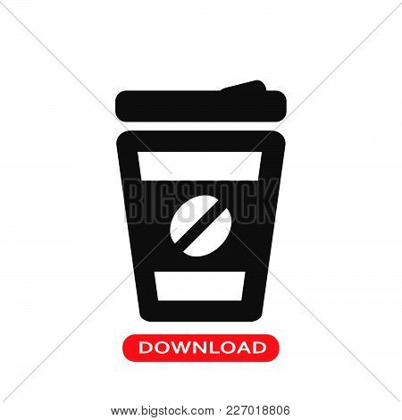 Coffee Glass Icon Vector In Modern Flat Style For Web, Graphic And Mobile Design. Coffee Glass Icon