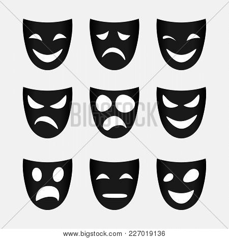 Vector Image Of Set Of Black Theatrical Masks.