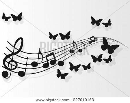 Vector Image Design Music Covers With Music Notes And Butterflies.