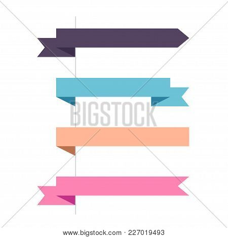 Flat Vector Four Horizontal Ribbons Arrows And Pointers Banners. Set Of Decorative Colored Horizonta