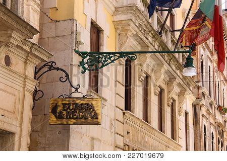 Venice, Italy - August 13, 2016: Facade Of The Westin Europa Regina Hotel (san Marco)