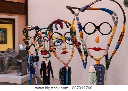 Venice, Italy - August 13, 2016: Figures Of The Beatles By Sculptor Dorit Levinstein In Art Gallery