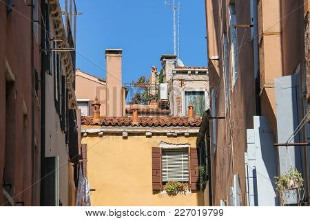 Ancient Architecture Of Historic Center In Venice, San Marco. Italy