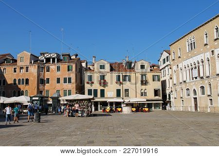 Venice, Italy - August 13, 2016: Tourists On Sant Anzolo Square