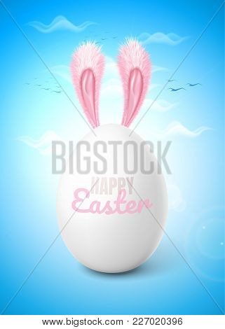 Vectro Realistic 3d Chicken Egg White Eggshell With Pink Rabbit, Bunny Ears Blue Cloud Sky Backgroun
