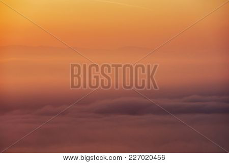 Abstract Sunrise With Morning Haze On Mountain In The Morning, Autumn