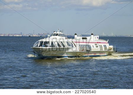 Saint Petersburg, Russia - May 30, 2017: Meteor-143 - Hydrofoil Ship In Close-up In The Water Area O