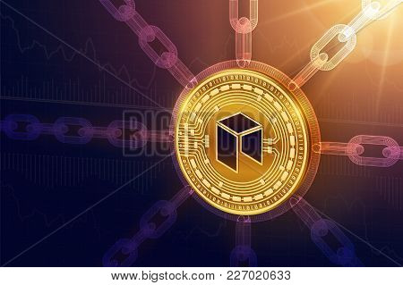 Neo. Crypto Currency. Block Chain. 3d Isometric Physical Neo Coin With Wireframe Chain. Blockchain C