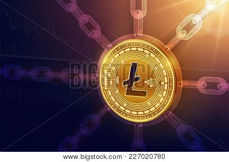 Litecoin. Crypto Currency. Block Chain. 3d Isometric Physical Litecoin Coin With Wireframe Chain. Bl
