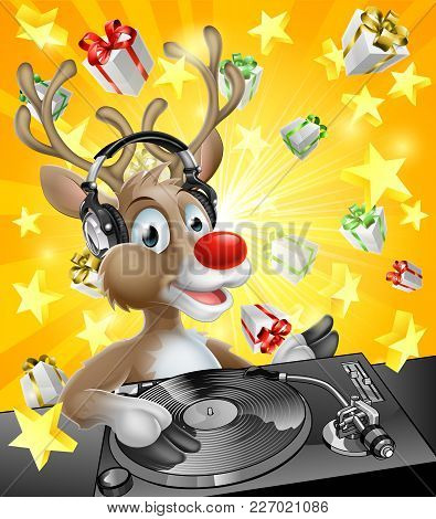 A Cartoon Christmas Reindeer Dj With Headphones On At The Record Decks With Christmas Gift Presents