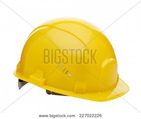 Yellow  construction helmet ( hard hat) on a white background. Protective clothes.