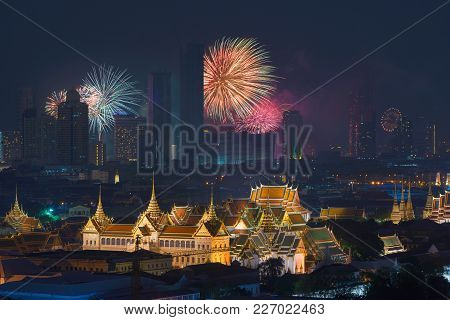 Fireworks Glowing Behind Grand Palace In Bangkok City, Thailand