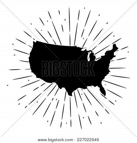 Vector Illustration With Map Usa And Divergent Rays. Used For Poster, Banner, Web, T-shirt Print, Ba