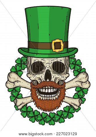 The Skull Of Saint Patrick's With Green Hat And Clover Leaves. Irish Skull. St.patrick Skull Vector.