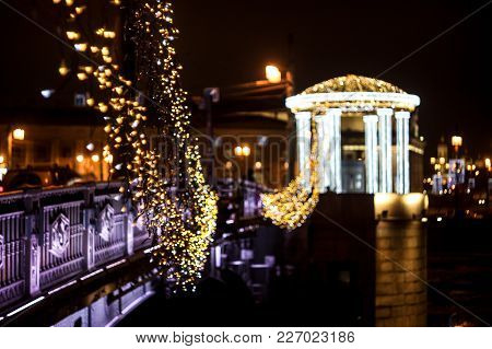 Night City, Illumination Of The Evening City, Celebration On The Bridge, Garland On The Bridge, Rotu