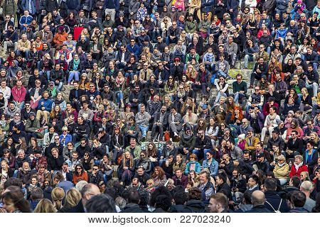Mauerpark, Berlin, Germany - March 27, 2016: Early Spring Afternoon At The Mauerpark Amphitheater. C