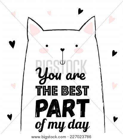 Vector Card Of Cute Cat