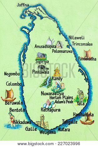 Sri Lanka, Asia, Hikkaduwa - Painted Map Of The Sri Lankan Island