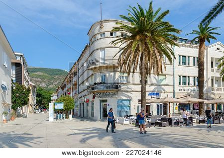 Tivat, Montenegro - September 10, 2017: Unknown People Are Walking Along Promenade Of Marshal Tito I