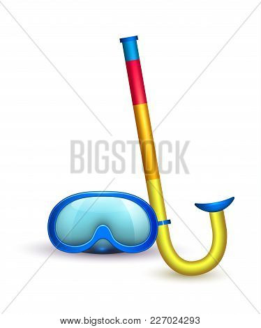 Vector Realistic Scuba Diving Blue Mask Goggles, Snorkel. 3d Snorkeling, Underwater Swim Equipment.
