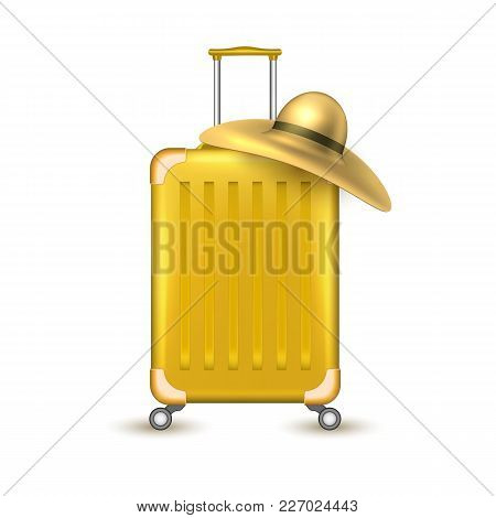 Realistic Yellow Travelling Suitcase, Bag With Sun Hat. Vector Voyage Plastic Luggage Case With Hand