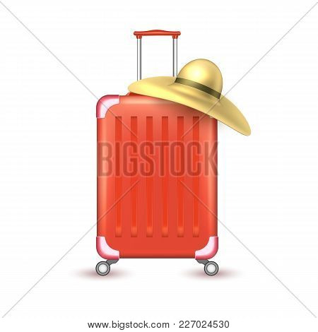Realistic Red Travelling Suitcase, Bag With Sun Hat. Vector Voyage Plastic Luggage Case With Handle