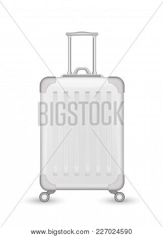 Realistic White Travelling Suitcase, Bag Mockup. Vector Voyage Plastic Luggage Case With Handle Whee