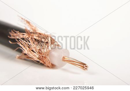 Coaxial Cable Macro Close Up Isolated On The White Background