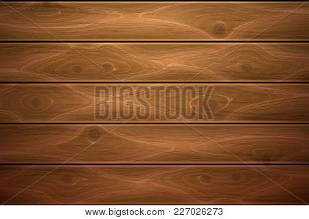 Wooden Texture Background. Realistic Vector Timber Wood Floor Surface. Brown Detailed Hardwood Plank