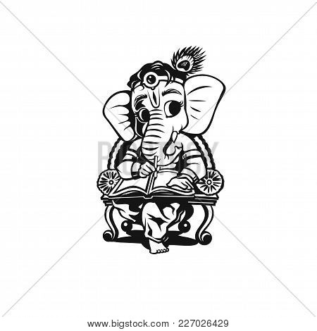 Lord Ganesh On White Background Vector Illustration Design.