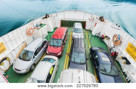 Cars On Deck Of Ferry In Norway, Scandinavia, Europe. Water Transportation.
