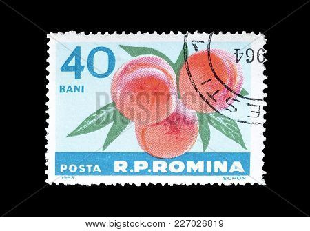 Romania - Circa 1963 : Cancelled Postage Stamp Printed By Romania, That Shows Peaches.
