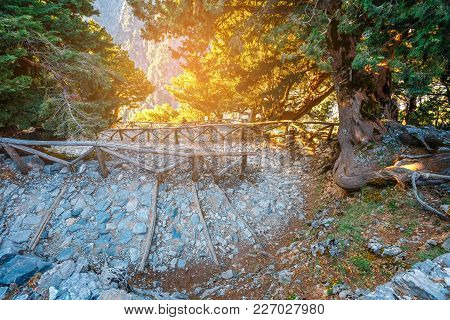 Tourist Path In Samaria Gorge In Central Crete, Greece