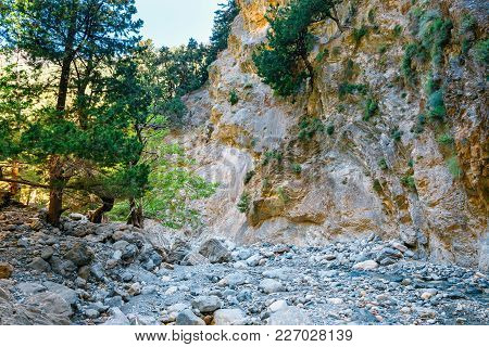Samaria Gorge In Central Crete Island, Greece