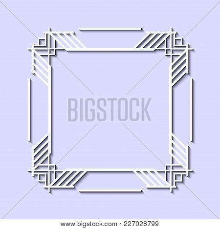 Vintage Retro White Frame In Art Deco Style. Template For Design