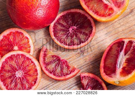 Wooden Striped Background From Cut Sicilian Oranges