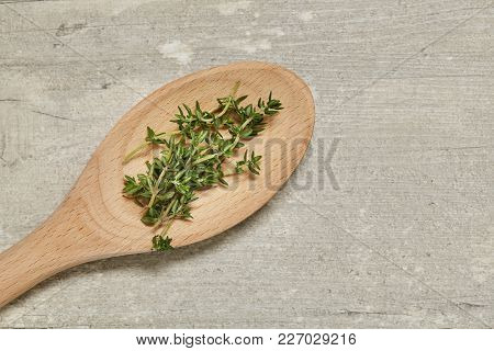 Wooden Spoon With Caraway On Background. Top View.