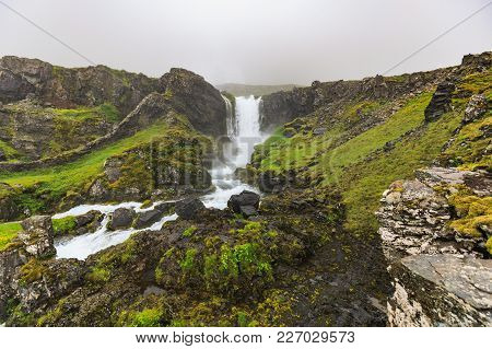 View To Dynjandi Waterfall In The Westfjords Of Iceland