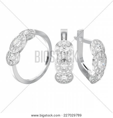 3d Illustration Isolated Set Of White Gold Or Silver Decorative Diamond Earrings With Hinged Lock An
