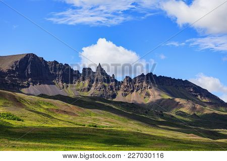 Big And Beautiful Landscape With Mountains In Iceland In Summer