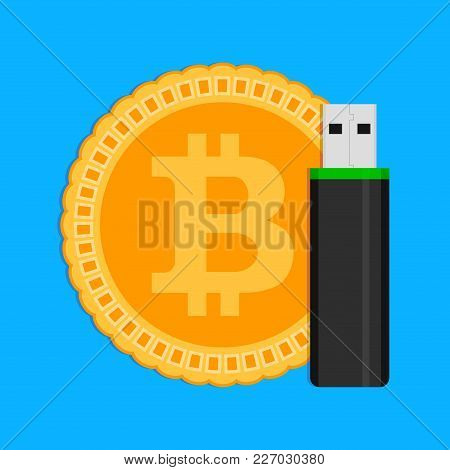 Storage Of Crypto Coins Bitcoin. Vector Bitcoin And Flash Drive Usb, Cryptocoin Wallet Illustration