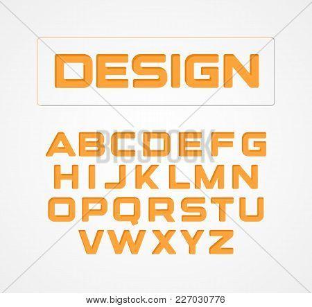 Geometric Minimalist Technological Design Font. Alphabet Symbols, Vector Collection. Orange Stylized