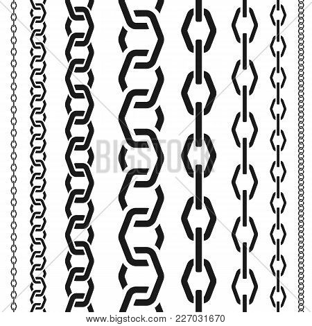 Chains Set Of Different Scale, Unusual Polygonal Shape, Seamless Vertical Pattern, Black Silhouette