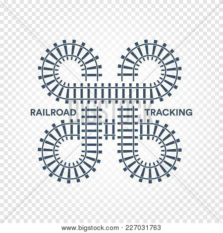 Railroad Tracking Road Junction With Turns And Bridges Vector Illustration On White Transparent Back